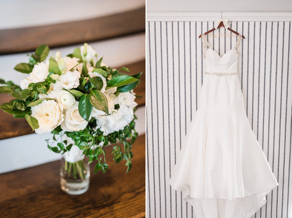 Tremont House Wedding Galveston Wedding Dress and Flowers