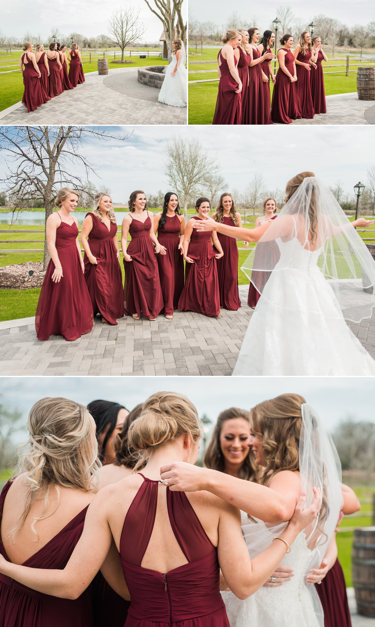Bridesmaid First Look Beckendorff Farms Wedding