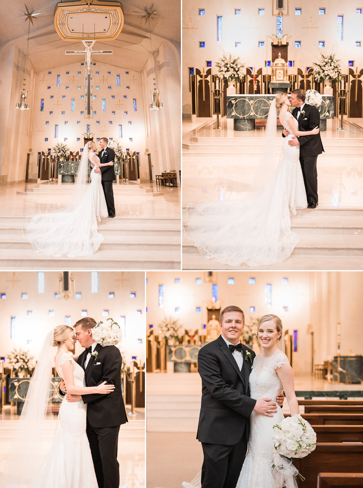 St. Michael's Catholic Wedding and Houston Club Wedding Reception