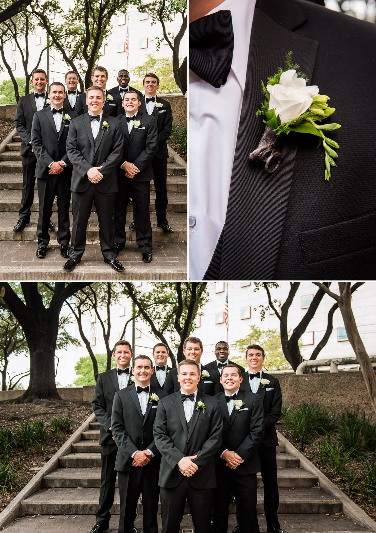Houston Club Wedding Groom and Groomsmen Portraits