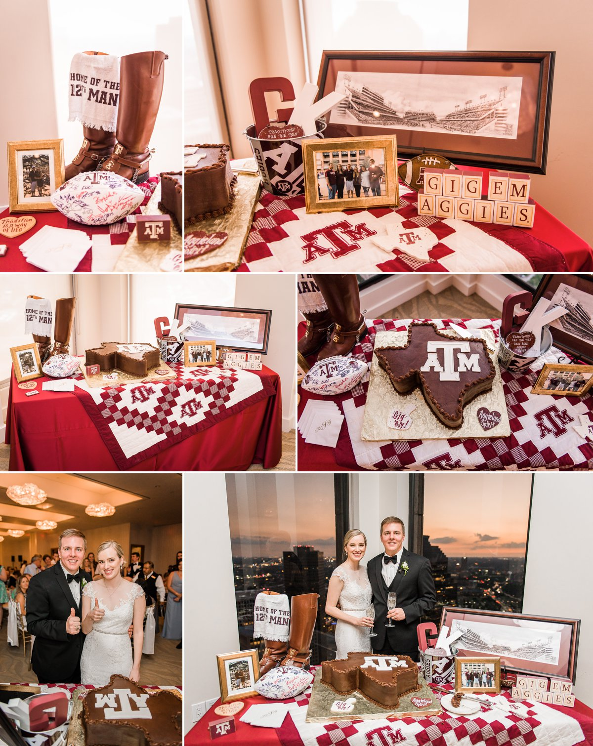 The Houston Club Wedding Aggie Grooms Cake and Table