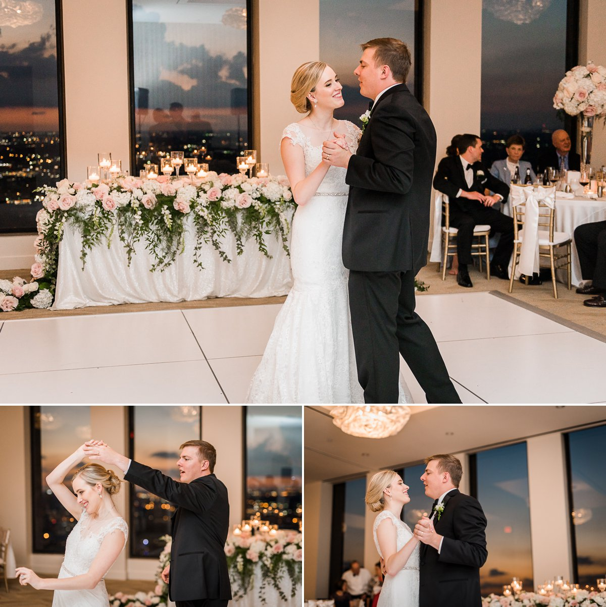 The Houston Club Wedding First Dance Bride and Groom