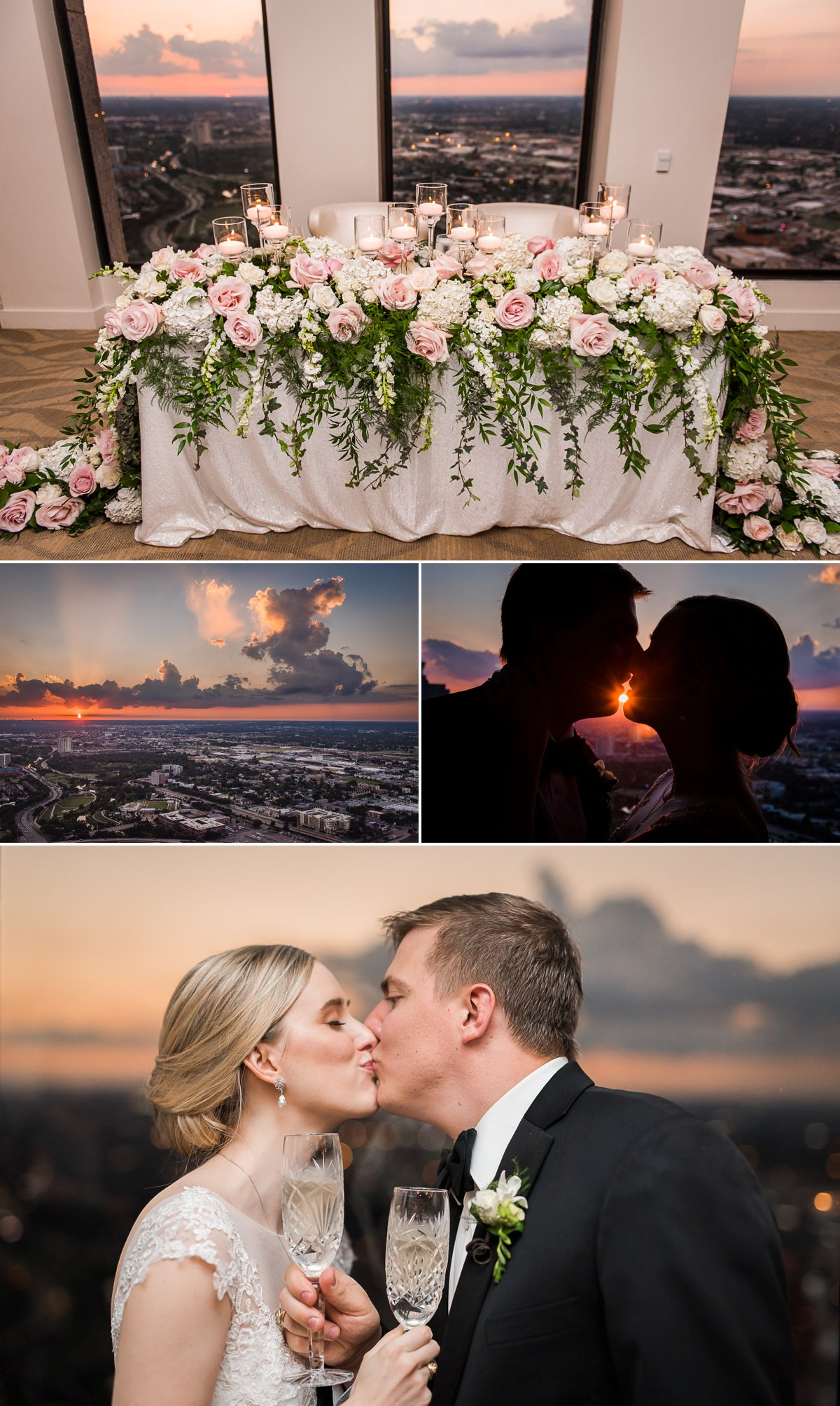 The Houston Club Wedding Romantic Sunset Portraits