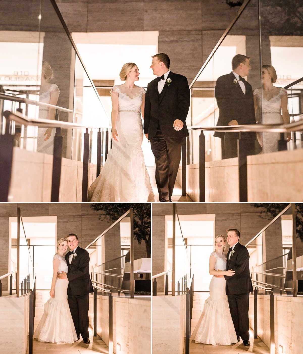 The Houston Club Wedding Exit and Night Portraits
