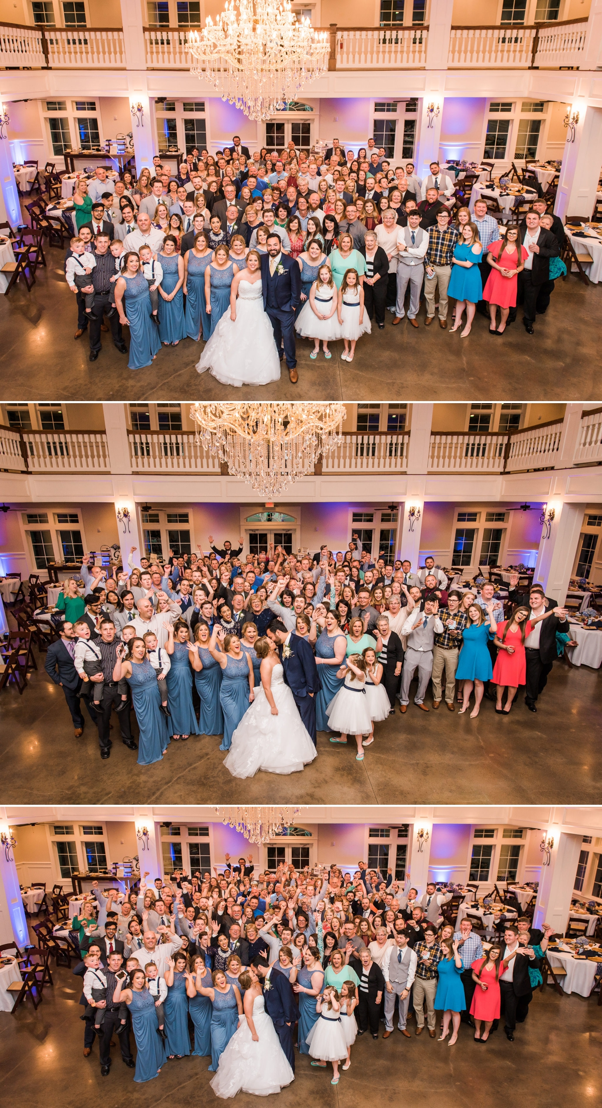Group portraits of the whole wedding at Magnolia Manor Wedding