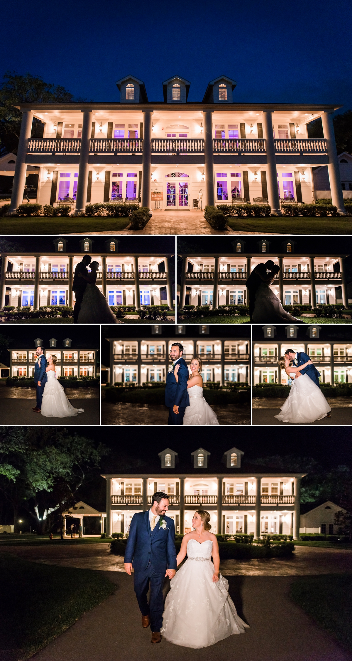 Magnolia Manor Wedding Night Portraits with Bride and Groom