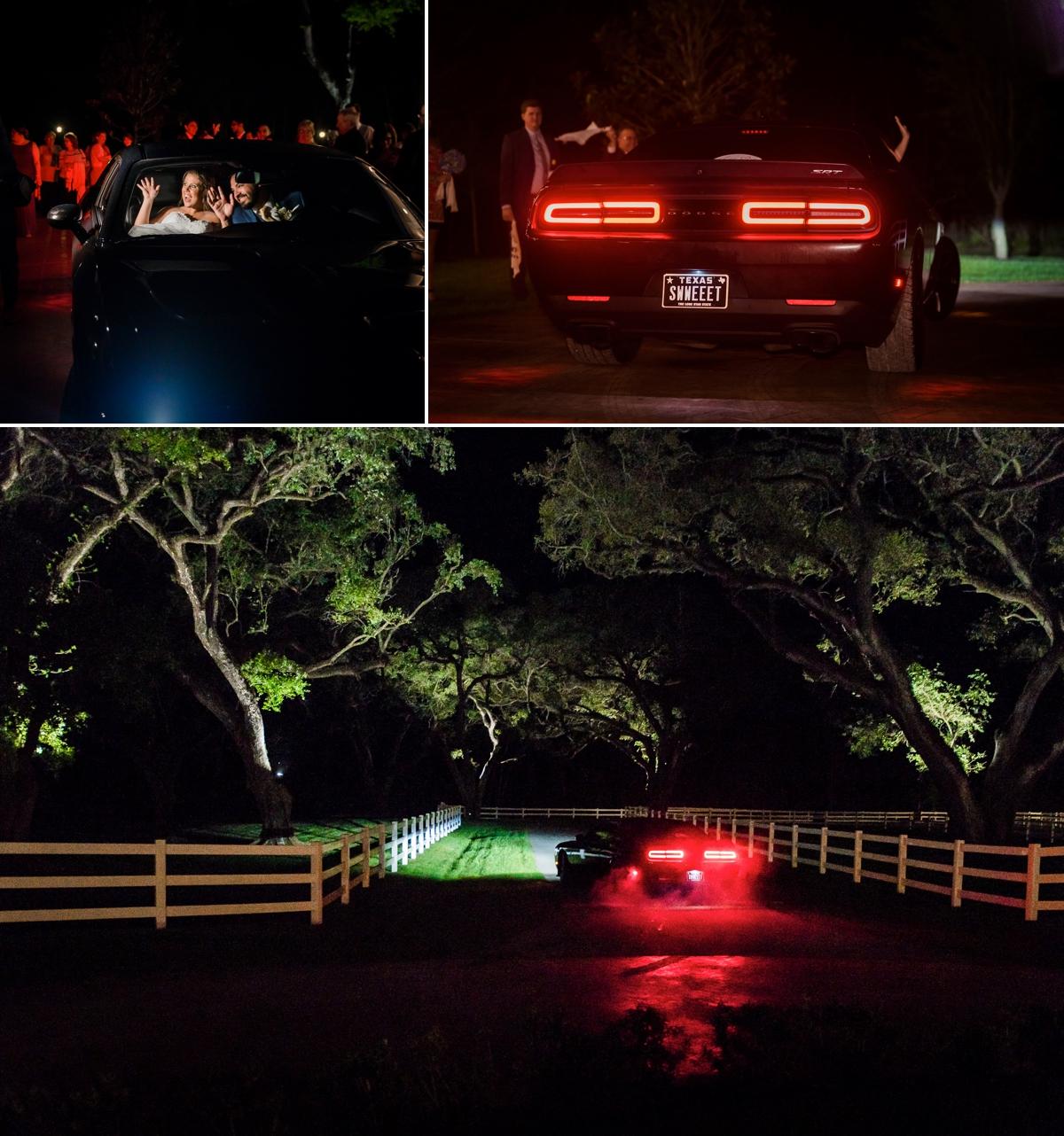 Magnolia Manor Wedding Sports Car Exit
