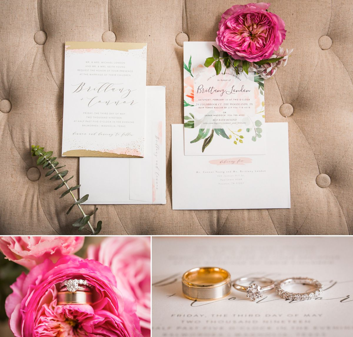 Balmorhea Wedding Invitations with bright peonies