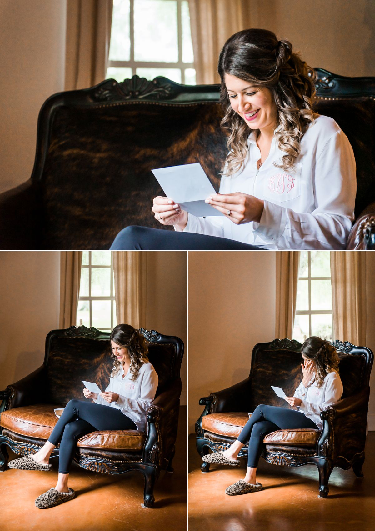 Balmorhea Wedding Bride reading Groom's letter