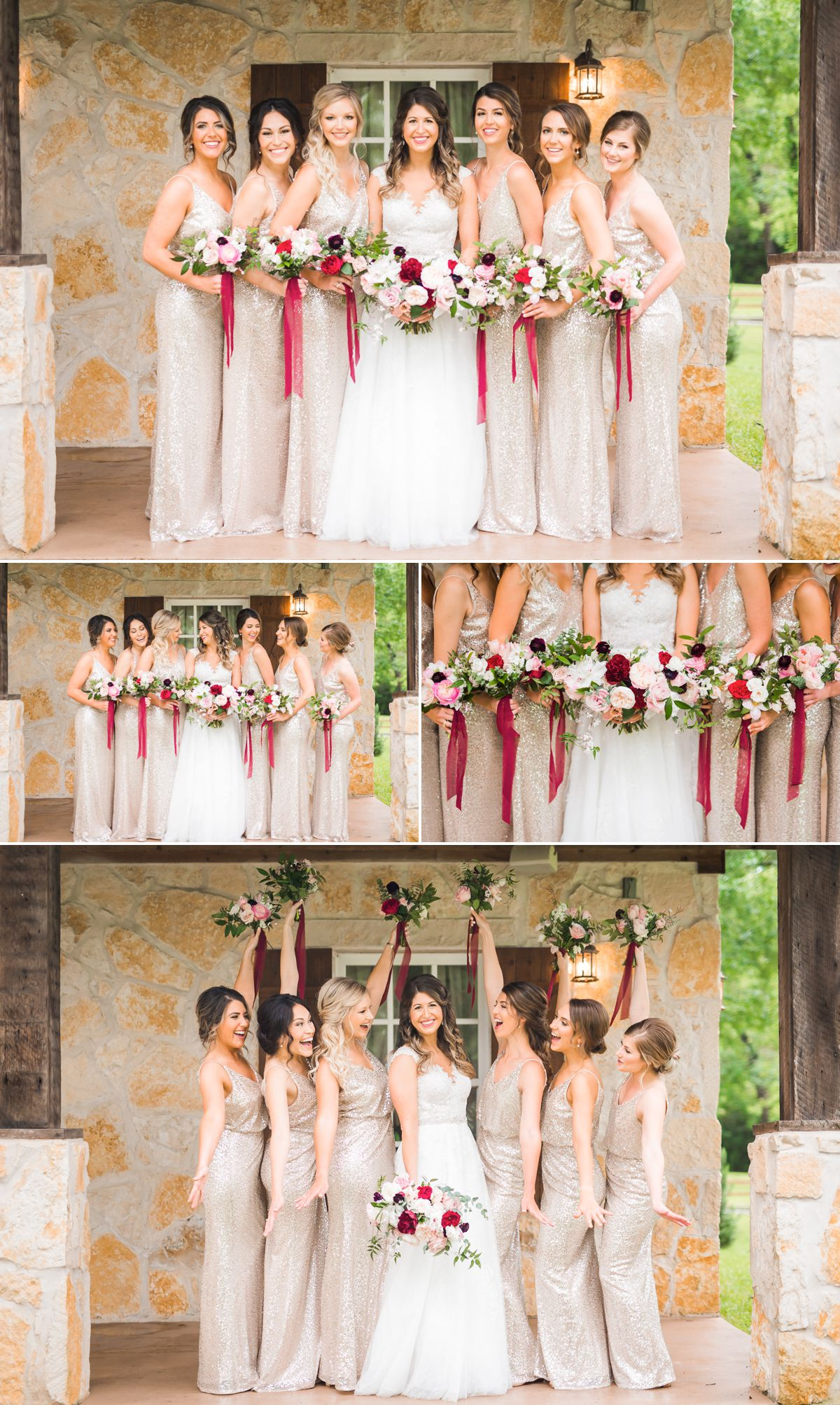 Bridesmaids in Gold with Red Burgundy Accents