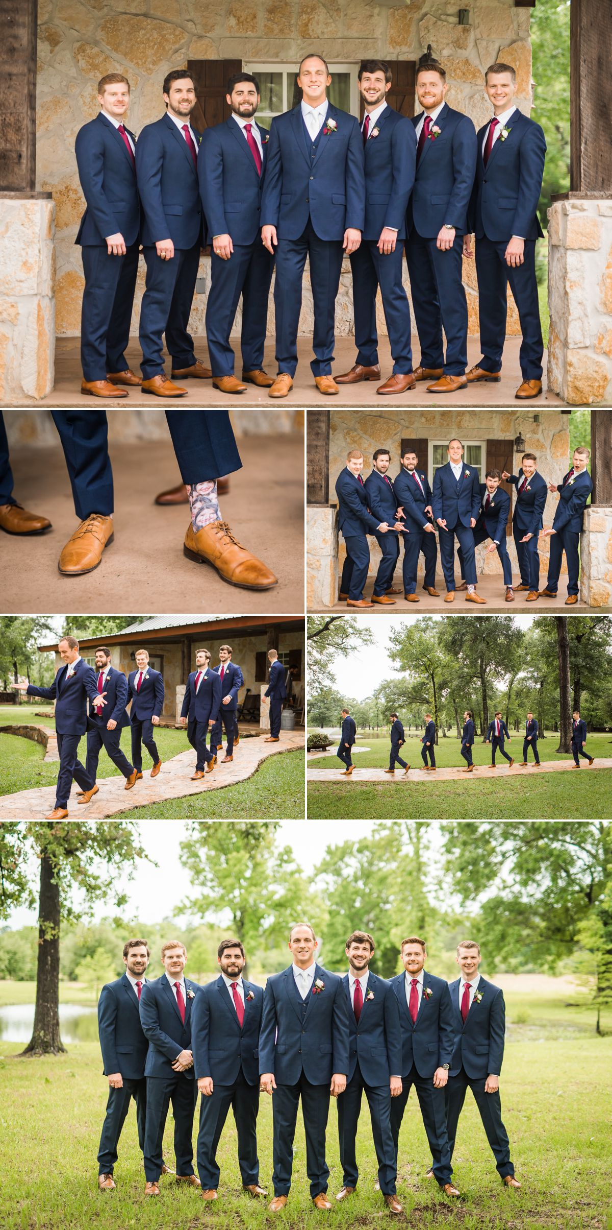 Groom and Groomsmen Portraits at Balmorhea Wedding