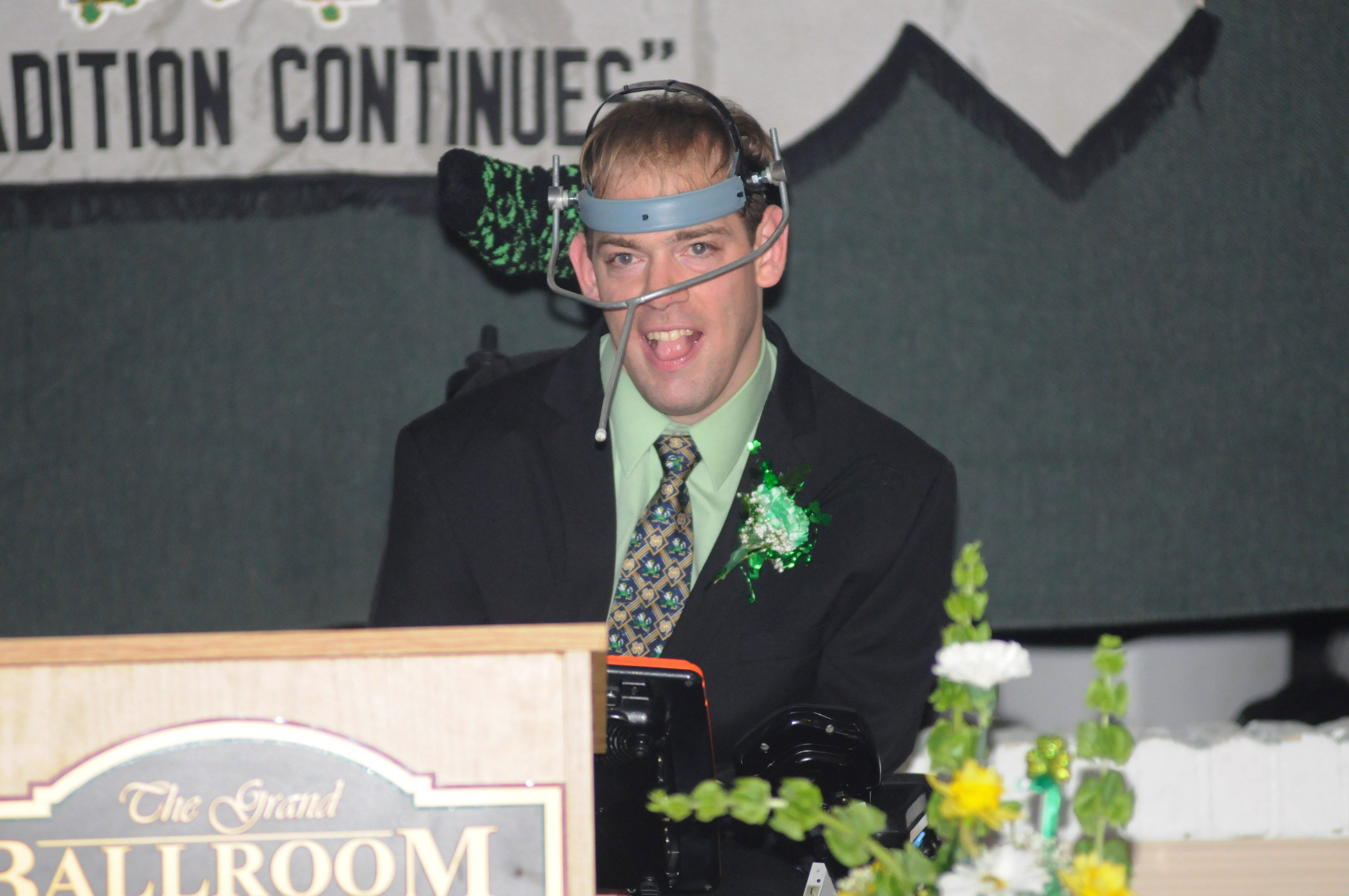"RON GOWER/TIMES NEWS Robert ""Bobby"" O'Gurek of Summit Hill, who has cerebral palsy, speaks during the 67th annual banquet of the Irish-American  Association of the Panther Valley, held at Kelly's Irish Pub in  Lansford. O'Gurek was presented with…"