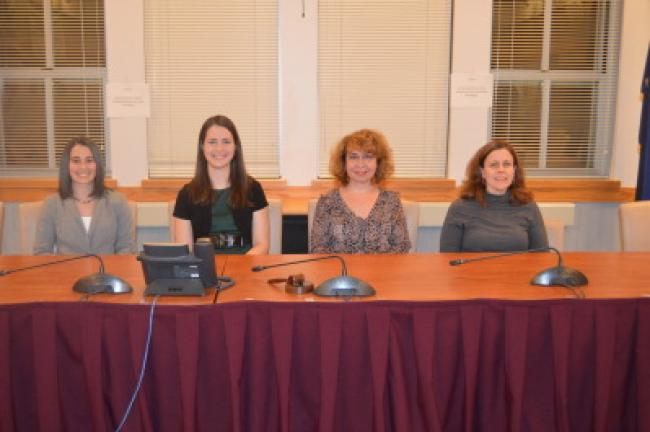 From left are Lehighton Area School District grant recipients Melissa Volcskai, instructional technology coach; Angela Harris, K-4 librarian; Lisa Steigerwalt, K-12 ESL teacher; and Suzanne Cordes, district reading specialist. JARRAD HEDES/TIMES NEWS