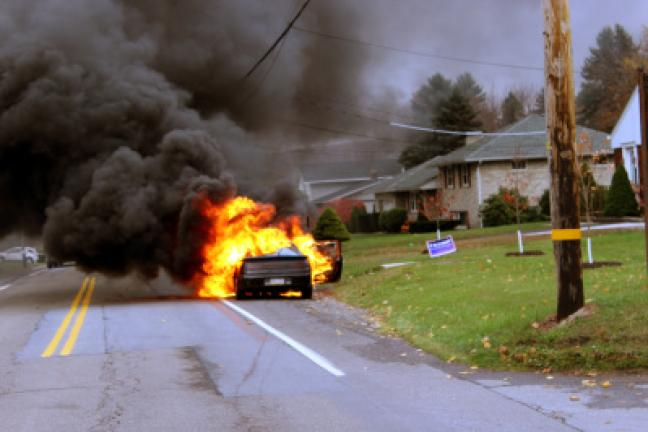 Emergency responders were dispatched to a report of a full involved car fire after 3 p.m. Thursday at Center and Chestnut streets in Hometown. The burning car was found pulled off to the side of Mahanoy Avenue, Route 54, not far from Hometown Fire…
