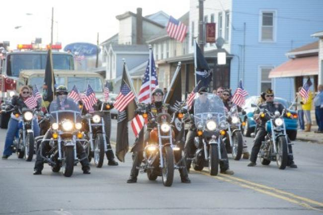 The American Legion Post 123 Riders of Lansford ride during the 2014 Carbon County Veterans Day Parade in Nesquehoning. AMY MILLER/TIMES NEWS FILE PHOTO Copyright - Zubek-Miller Photography