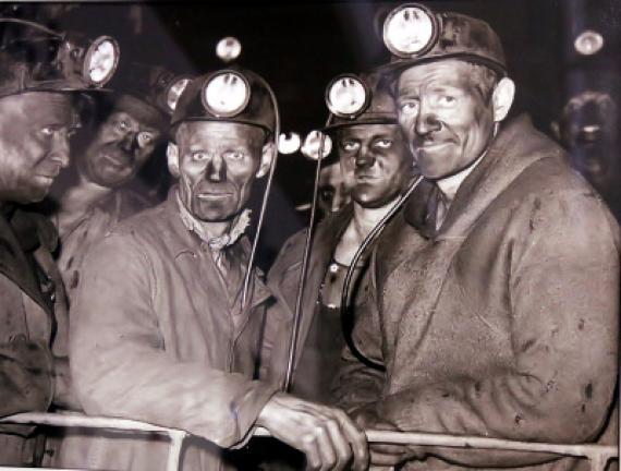 Coal miners are known for their work ethic, strength and fortitude, such as this unit emerging from mines, depicted in an image featured at St. Luke's Miners Campus in Coaldale.