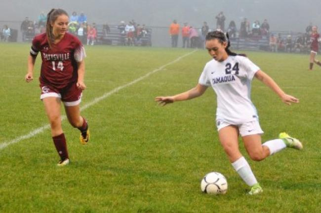 Katelyn Rudy (24) of Tamaqua steps in to pass the ball as Pottsville's Olivia Eagan defends. RON GOWER/SPECIAL TO THE TIMES NEWS