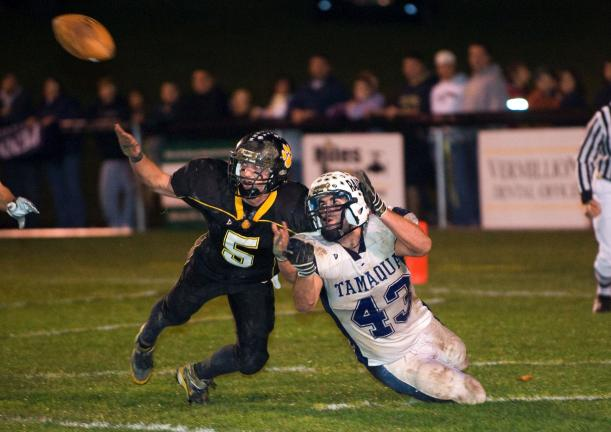 Panther Valley's Kyle McAvoy (5) dives to break up a pass intended for Tamaqua's Grif Griffiths. The pass was incomplete.