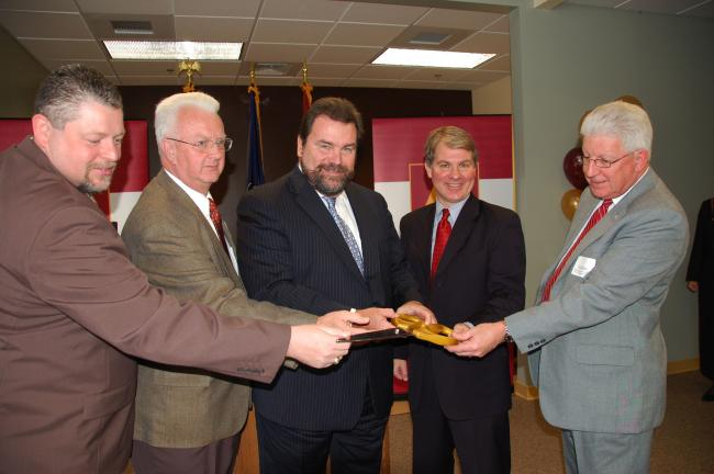 ALVERNIA UNIVERSITY/SPECIAL TO THE TIMES NEWS Participating in the ribbon cutting for the new Alvernia University Graduate and Continuing Education Center at the Cressona Mall Thursday were, from left, Tim Seip (Pa. State Representative, 125th…