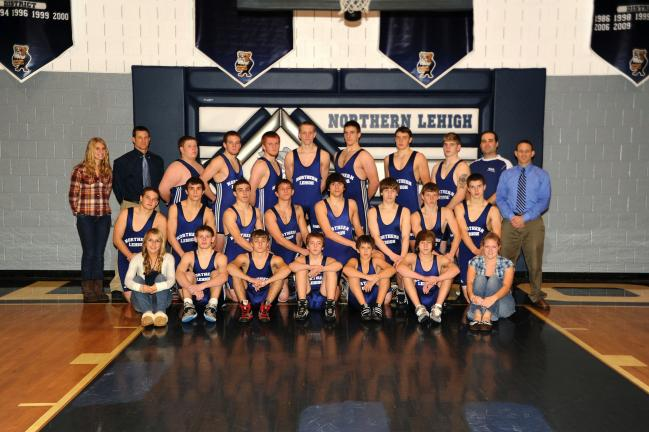 bob ford/times news Northern Lehigh wrestling team members, include, front row, from left, Fmanager Sam Corcoran, Kyle Baumann, Lucas Dise, Connor Hedash, Ryan Martinez, Ty Herzog and manager Jess Rex. Second row, Drayton Budhoo, Chris Christ, Dylan…