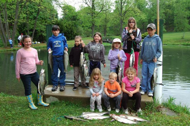 ELSA KERSCHNER/TIMES NEWS Caitlyn Kresge, Briana Caravello, Ryan Schmidt, Conner Rex, Megan Green, Cassie Zellner, Brandon Schnell, Nicole Saunders, Austin Rodgers and Amanda Rodgers participated in the Palmerton Rod and Gun Club fishing contest,