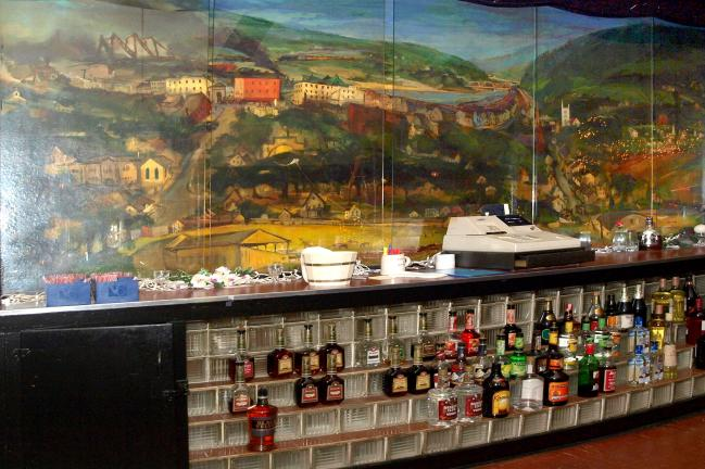 """The most ambitious of Franz Kline's paintings in Carbon County is the mural, """"Lehighton,"""" painted in 1946, located behind the bar at American Legion Post 314 in Lehighton."""