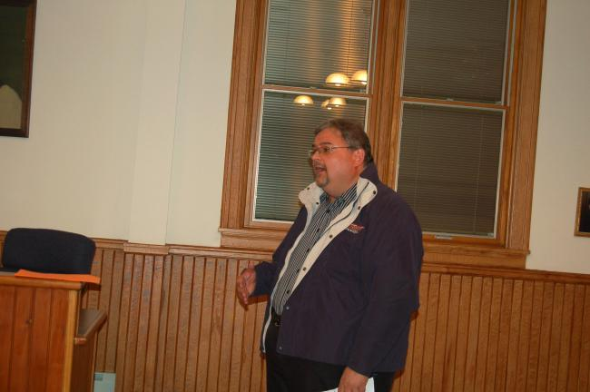 TERRY AHNER/TIMES NEWS Dale Freudenberger, market towns manager for the Delaware & Lehigh National Heritage Corridor, speaks with Palmerton Borough Council of the possibility of the borough being listed on the National Register of Historic Places.