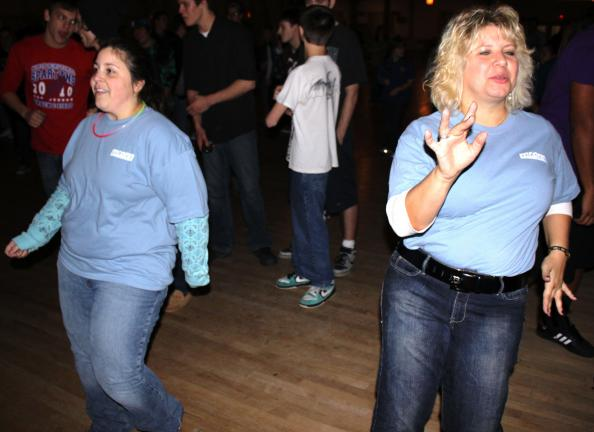 "ANDREW LEIBENGUTH/SPECIAL TO THE TIMES NEWS Event organizer Lori Kane, right, and volunteer Stacey Misiano ""cut a rug"" during the Battle of the Bands held recently at the Lakeside Ballroom in Barnesville to benefit the American Cancer Society."