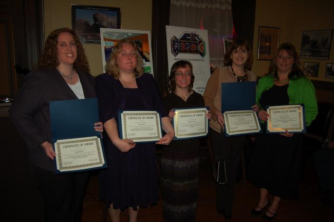 JOE PLASKO/TIMES NEWS Tamaqua Area School District teachers who are the recipients of grants from the Tamaqua Blue Raider Foundation included, from left, Jolene Barron, Corinne Betz, Susan Featro, Millini Skuba and Kimberly Snyder.