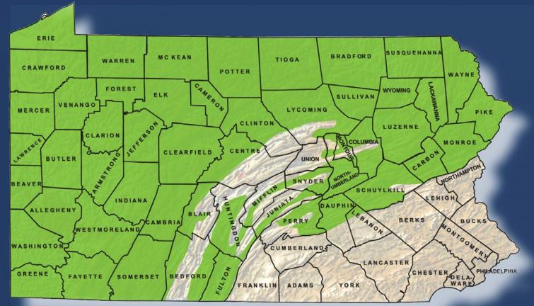 Up to 50,000 square miles of the Marcellus Shale formation