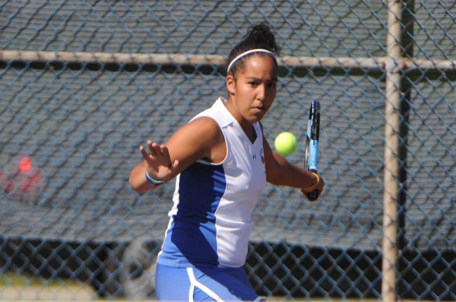 nancy scholz/times news Pleasant Valley's Sara Elmontacir prepares to hit a forehand during the opening round of the District 11 Classs AAA Tennis Tournament on Thursday. Elmontacir lost in straight sets to Northampton's Darby McCall.