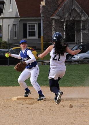 rich george/special to the times news Palmerton's Janel Tracy forces Northern Lehigh's Kelsey Follweiler (21) at second base.