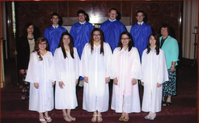 SPECIAL TO THE TIMES NEWS Graduation ceremonies were held May 30 for the St. Jerome's Regional School Class of 2012. Participants included: (front) Molly Carnish, Abby Pilla, Mychaella Lucas, Heather Getten and Rose Reid; (rear) Mrs. Leslie Confer …