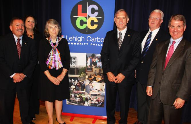 Pictured during the assembly were, from left, Robert Carl, President, Schuylkill Chamber of Commerce; Carol Makuta, Superintendent, Tamaqua Area School District; Ann Thompson, Vice Chair of the Board, LCCC; Donald Snyder, President, LCCC;…