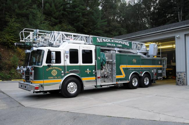 RON GOWER/TIMES NEWS Nesquehoning Hose Company No. 1 has purchased a 103-foot aerial truck from KME Kovatch in Nesquehoning.