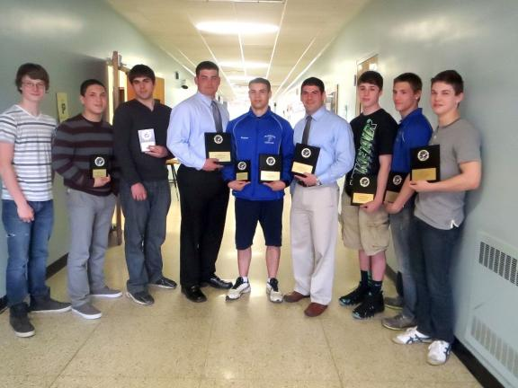 @Caption Stand Alone:Palmerton varsity wrestling awards The Palmerton wrestling team recently held its season-ending banquet. Among the wrestlers to receive awards were, from left, Damien Fink (Most Valuable Freshman); Josh Evans (Most Valuable…