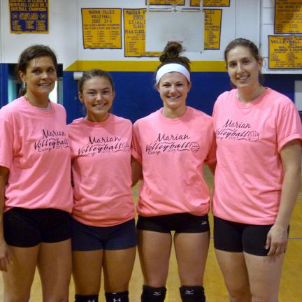 @Caption Stand Alone:Marian Fillies Volleyball Camp The Marian Fillies Volleyball Camp was held recently. The high school camp award winners were Jenna O'Donnell, Most Improved Award (second from left); and Grace Boyle, Leadership Award (second from…
