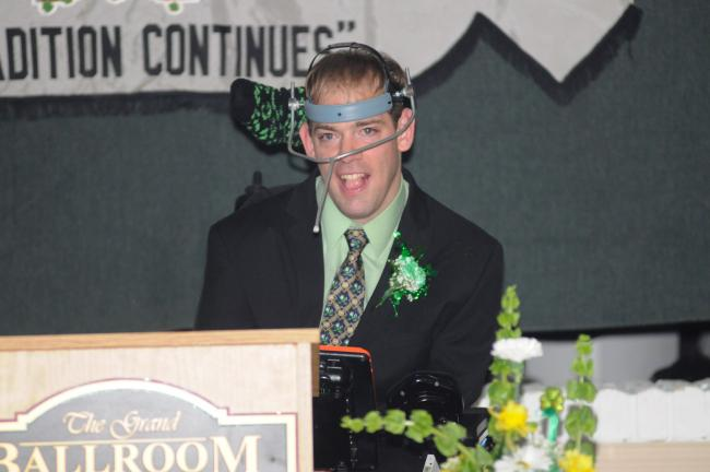 """RON GOWER/TIMES NEWS Robert """"Bobby"""" O'Gurek of Summit Hill, who has cerebral palsy, speaks during the 67th annual banquet of the Irish-American  Association of the Panther Valley, held at Kelly's Irish Pub in  Lansford. O'Gurek was presented with…"""