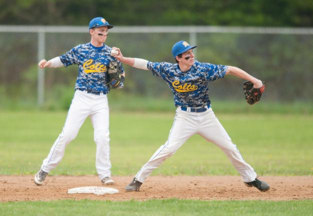 bob ford/times news Marian shortstop Dante Salerno releases
