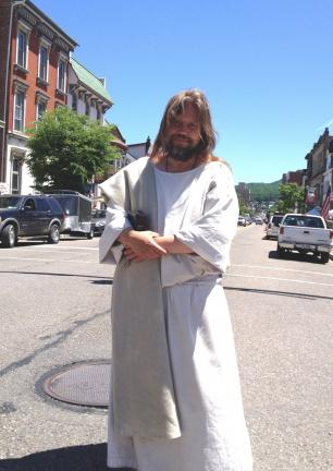 "DONALD R. SERFASS/TIMES NEWS  ""The Jesus Guy"" has returned to Tamaqua. How long he stays and where he goes next is uncertain, he says, depending on where the Lord leads him."