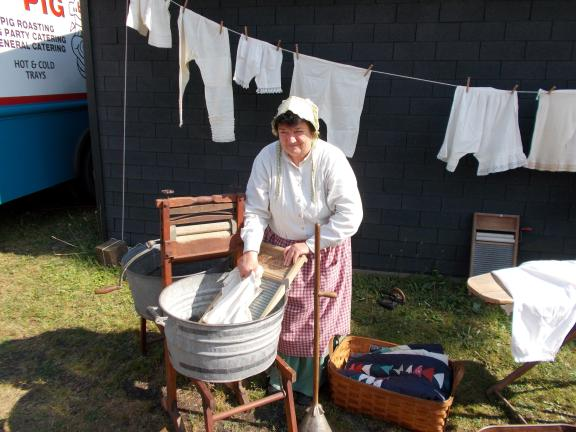 SPECIAL TO THE TIMES NEWS A volunteer will demonstrate laundry day, one of many historically accurate portrayals at the Coal Miner's Heritage Festival.