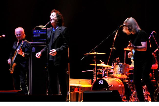 RON GOWER/TIMES NEWS The Zombies, an oldies band which has been entertaining audiences for over a half century, performs at Penn's Peak at Jim Thorpe. Colin Blunstone, center, lead singer, is one of two founding members still performing with the Zombies.