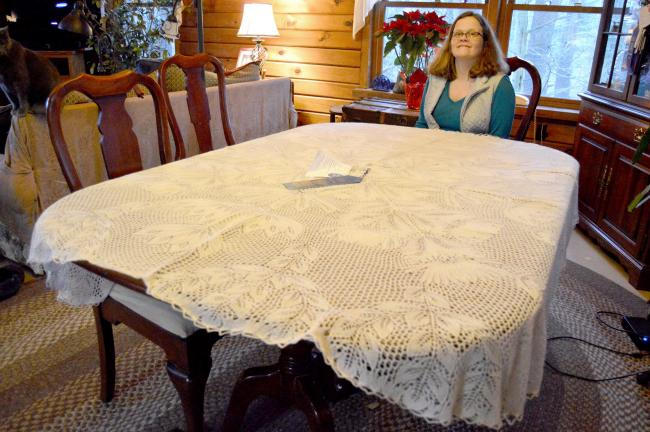 LISA PRICE/TIMES NEWSCathy Riotto's hand-knitted tablecloth took the blue ribbon at the Pennsylvania Farm Show.