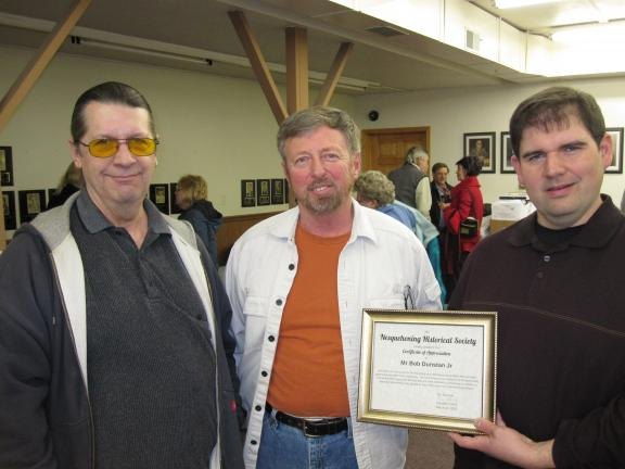 SPECIAL TO THE TIMES NEWS Vice president Mark Gilkeson, left; and Joe Roman, right; present a certificate of appreciation to Bob Dunstan to thank him for his presentation.
