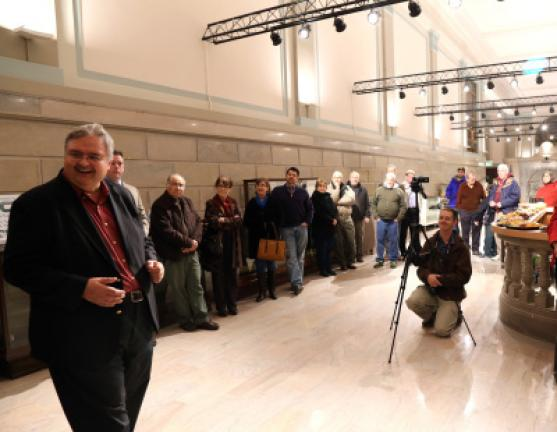 Dale Freudenberger, president, Tamaqua Historical Society, welcomes guests to an open house Friday at the new Museum of the Tamaqua Area where $1M in upgrades to the building were unveiled. The museum will open by May, 2016. DONALD R. SERFASS/TIMES NEWS