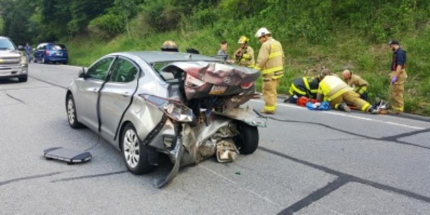 Three people were injured in a crash Wednesday afternoon along Route