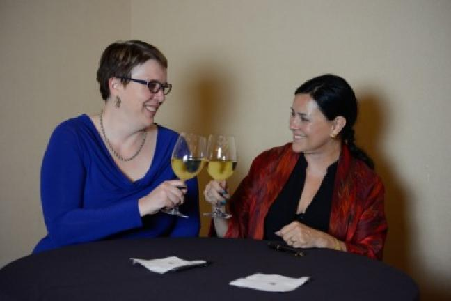"""Theresa Carle-Sanders and Diana Gabaldon enjoy a glass of wine in Scottsdale, Arizona, after signing 1,100 copies of Carle-Sanders' new cookbook. """"Outlander Kitchen: The Official Outlander Companion Cookbook."""" Gabaldon, author of the wildly popular …"""