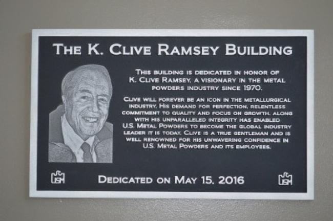 A plaque in honor of K. Clive Ramsey was installed in Ampal's newly acquired office building. KRISTINE PORTER / TIMES NEWS Copyright - CUPPEK PHOTOGRAPHY LLC