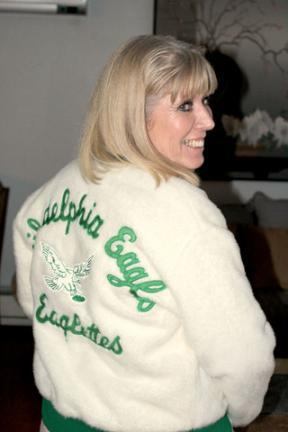 Empty. Marge Radocha models her Philadelphia Eagles Eaglettes ... 40bbe2789