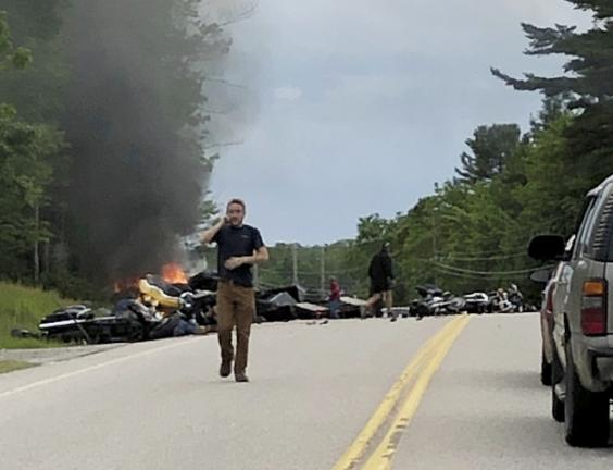 Bikers gather for emotional ceremony following deadly crash